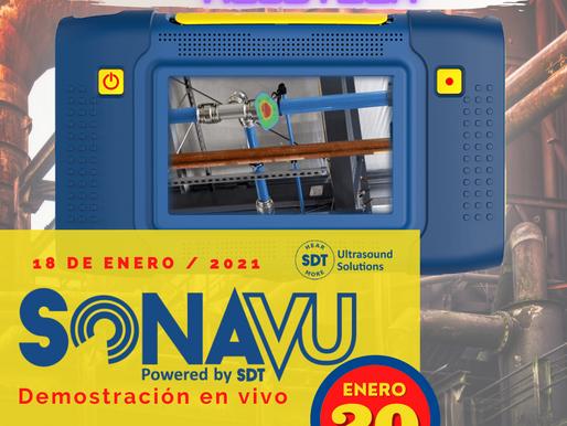 Demostración en VIVO de la Cámara de Imágenes Acústicas SonaVu ™, 20 de Enero 2021