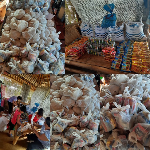 Food care packages received by the poorest among the poor. People who lives along the river.