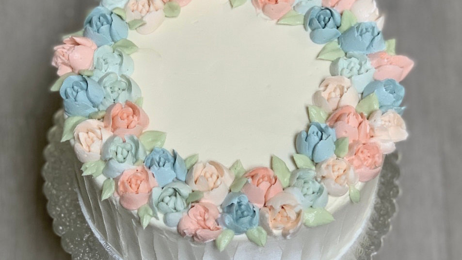 Pink & Blue Wreath Cake