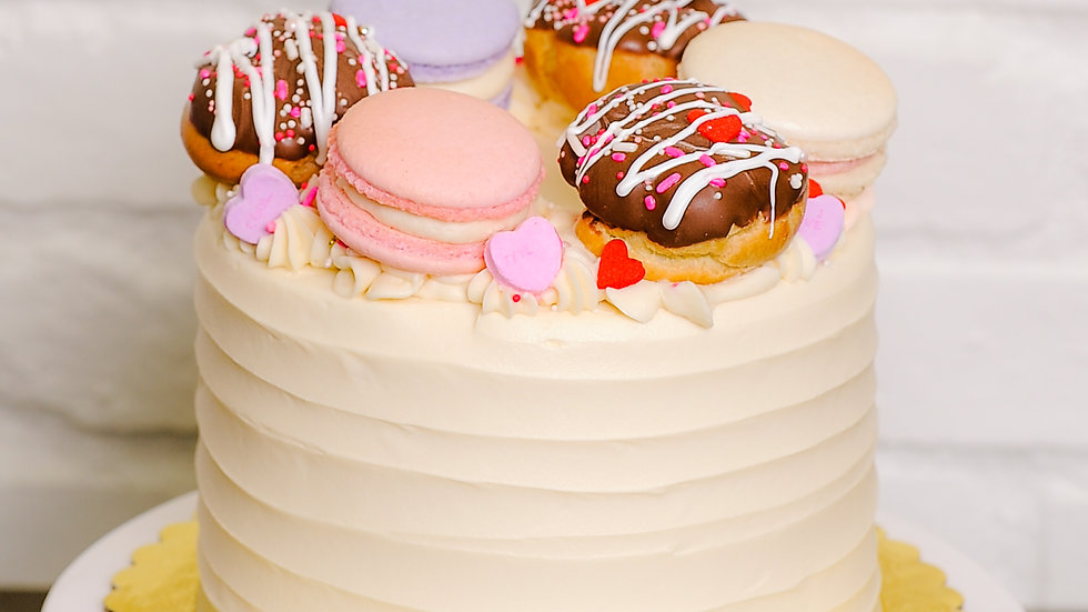 Cream Puffs & Macarons Cake