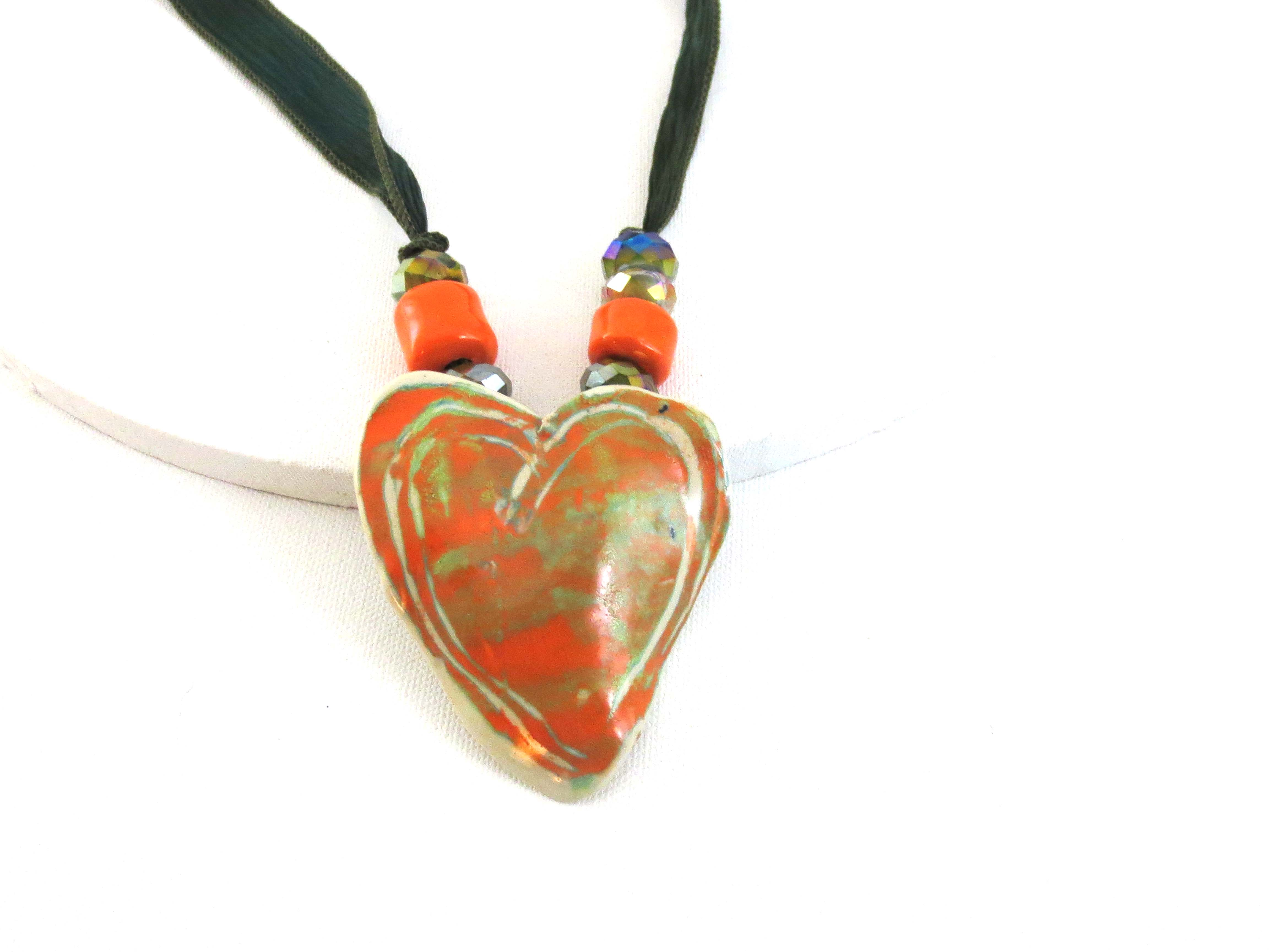 Orange & green ceramic heart