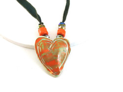Orange & green ceramic heart
