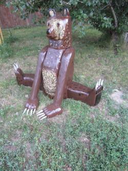 Contented Griz (wood & antler)