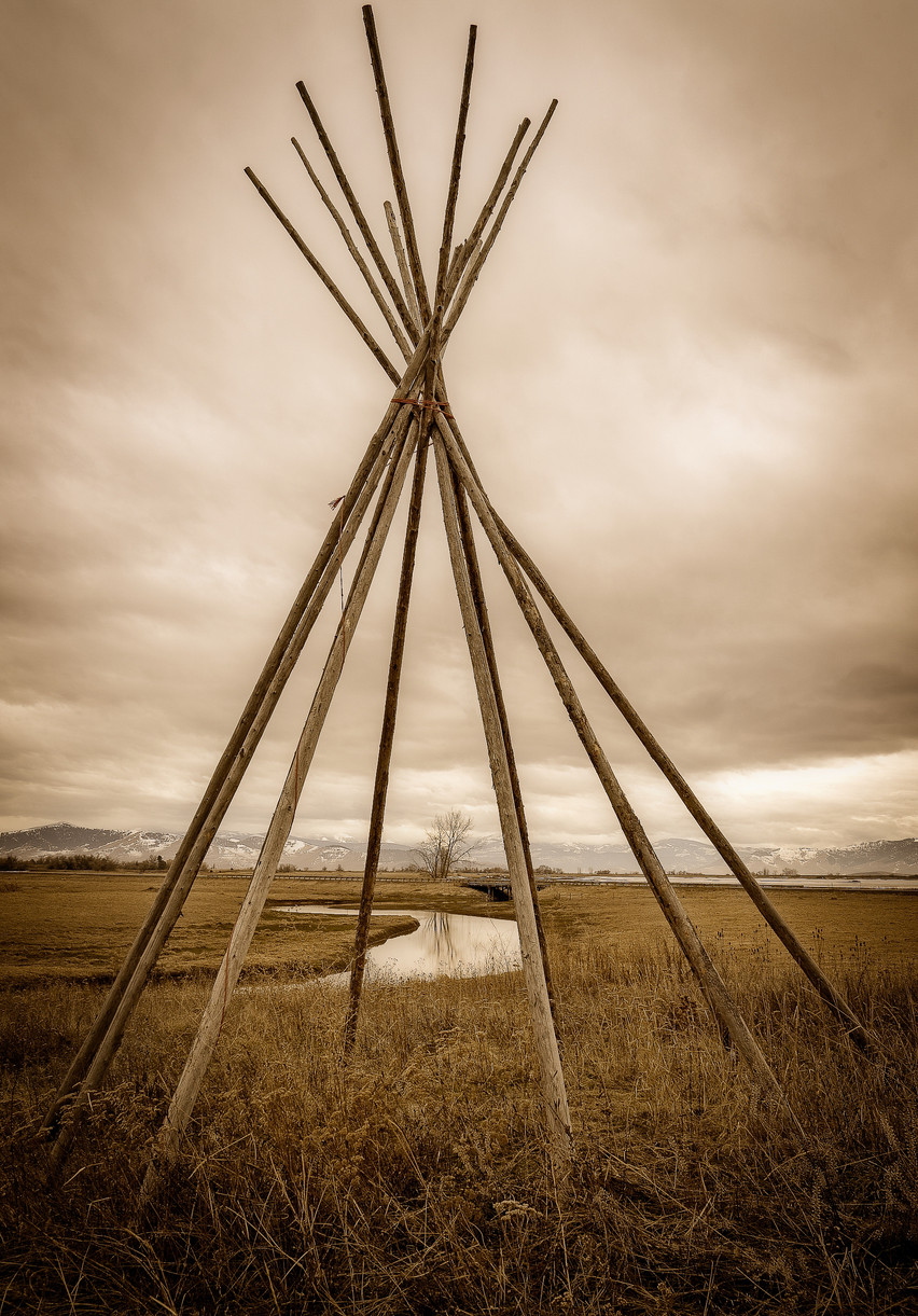A tleepee provides a unique view of the Mission Mountains.