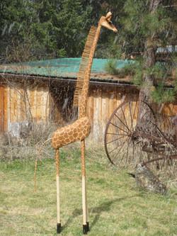 Garden Giraffe (wood, reeds)
