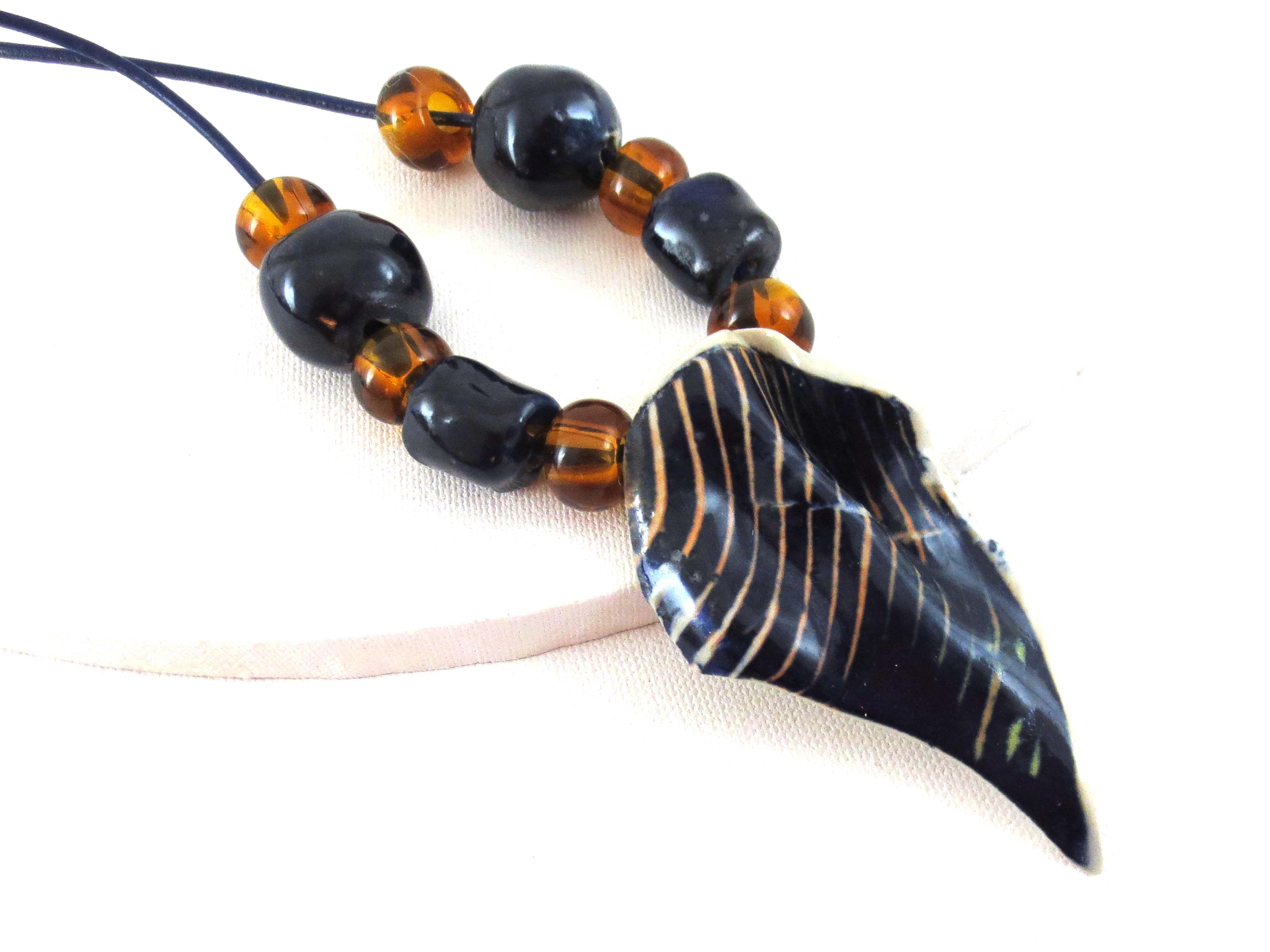Black & gold ceramic pendant