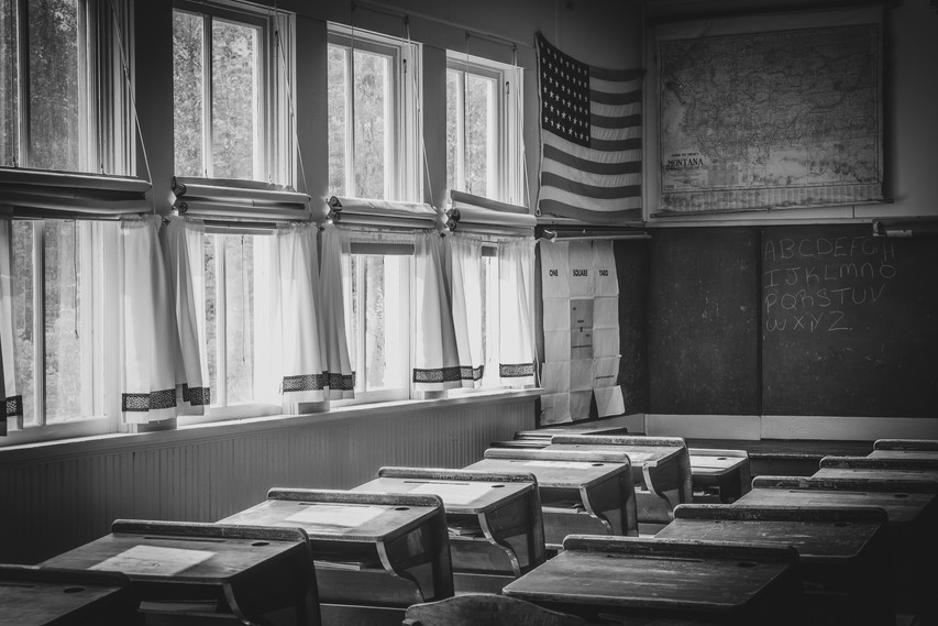 A visit to the old schoolhouse at the Historic Village in Eureka, MT
