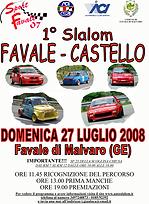 LOCANDINA 1 Slalom Favale Castello 2008.