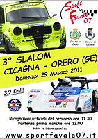 Locandina 3° Slalom Cicagna  Orero 2011.