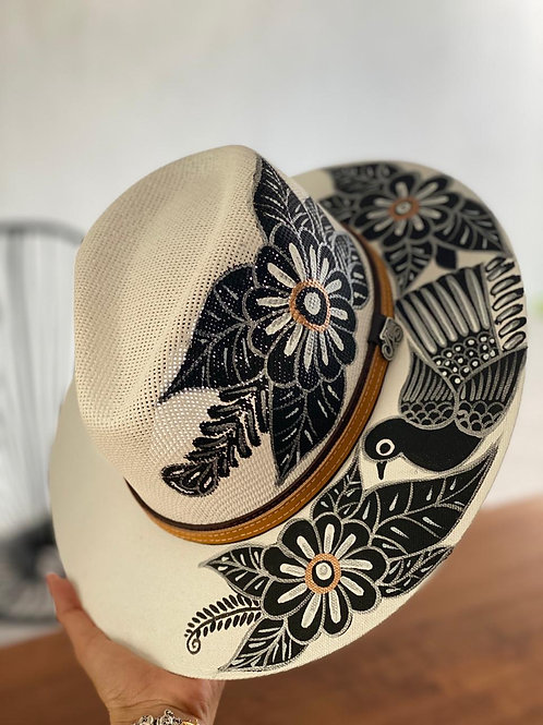 Black flowers hat