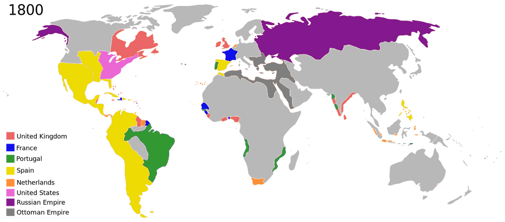 Colonization in 1800. Major Empires Will Eventually Break Up and Create Small States.