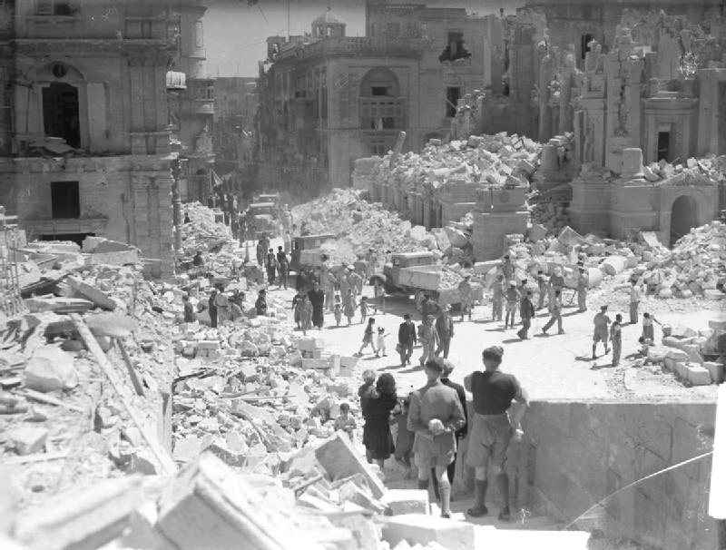 Tiny nation Malta during world war 2 damaged by bomb
