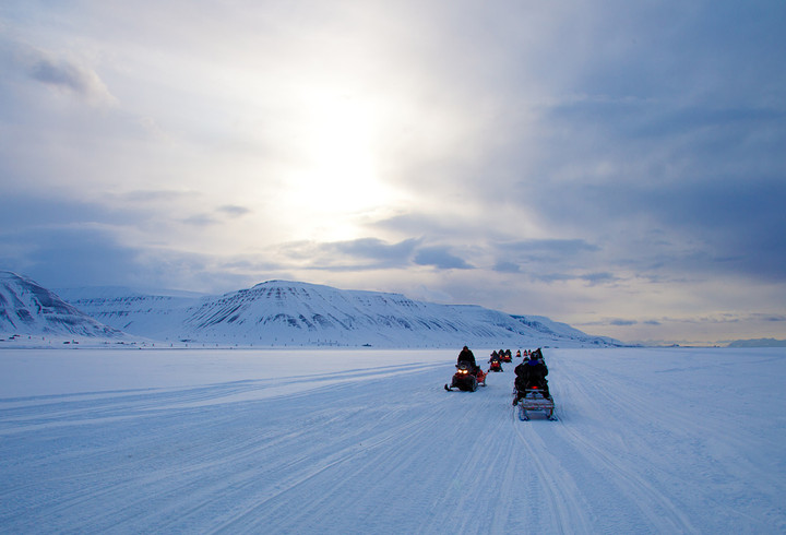 Snow Mobiles in Svalbard