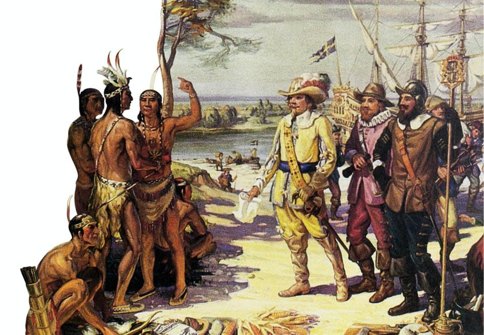 Swedish settlers arriving in New Sweden, in Delaware today.