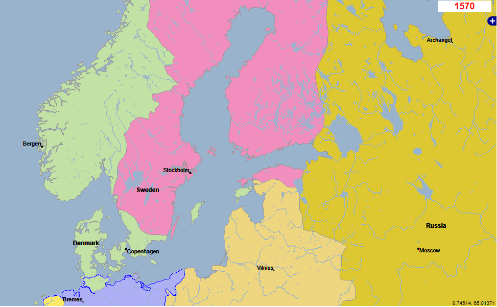 Map of year 1570, focusing on Denmark and Sweden
