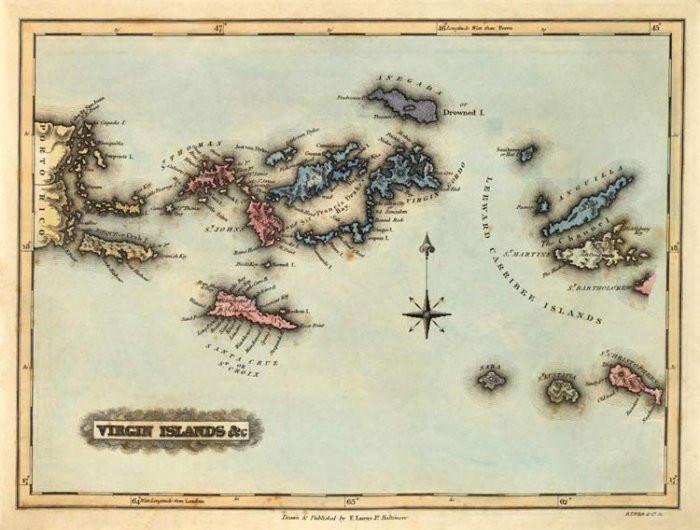 Virgin Islands map. Danish West Indies.