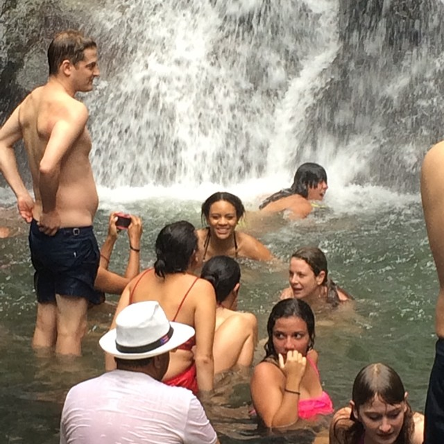 Swimming at the end of the waterfall at #elyunque #puertorico #fun #rainforest #itravel2getaway