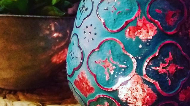 Blue & Copper Foiled Jar of Soy