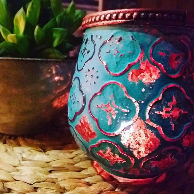 Blue & Copper Foiled Jar of Soy