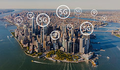 5G network with aerial view of Manhattan