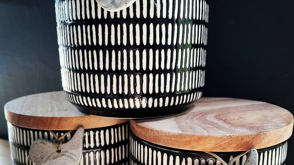 Black & White Canister of Soy