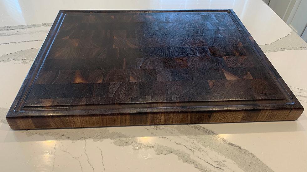 "Walnut end grain cutting board with juice groove - 25"" x 20"" x 2"""