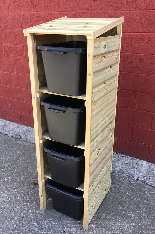 Recycling Storage TALL Premium 4 box WOODEN ROOF