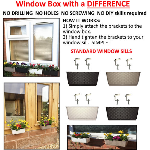 WINDOW BOX with a DIFFERENCE SMALL Brackets & Box FREE UK P&P