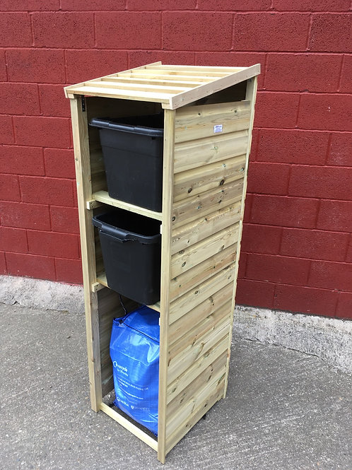 Recycling Storage TALL Premium 2 box bag WOODEN ROOF