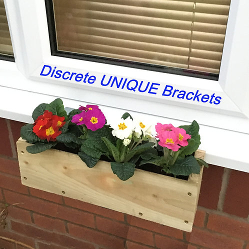 Wooden WINDOW BOX with a DIFFERENCE STANDARD Brackets & Box FREE P&P
