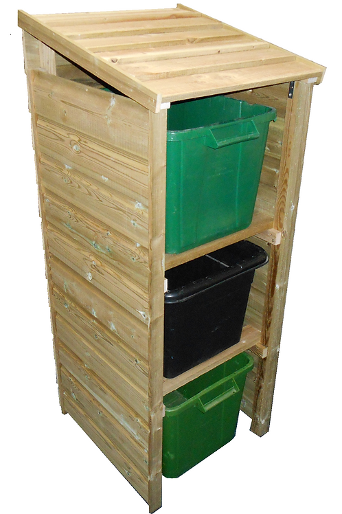 recycling box storage, recycling store, recycling cabinet, wooden store, recycling cover, sustainable, wooden plastic roof