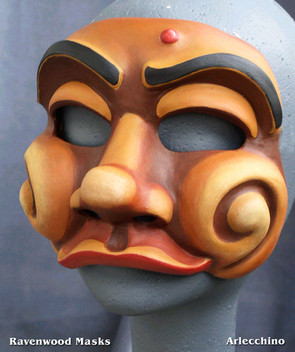 Arlecchino Commedia Mask