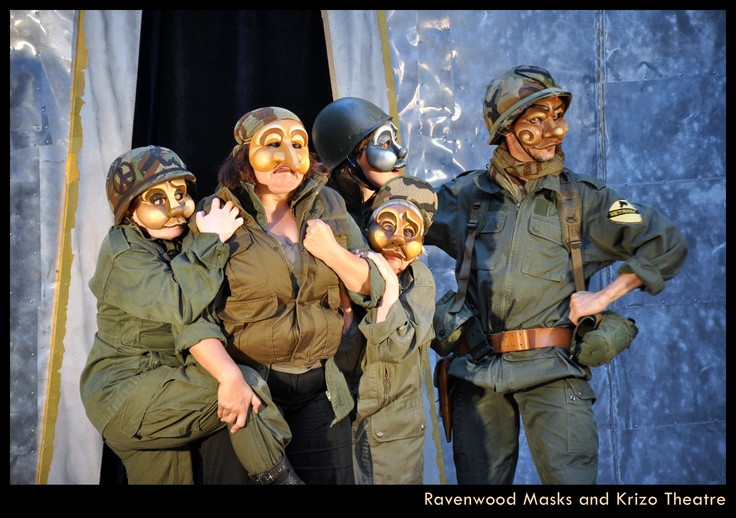 Commedia style mask performance