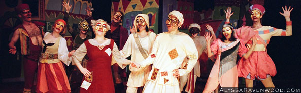 The big dance finale with the cast of Scapin! Ten actors in colorful costumes wearing Commedia Dell'Arte masks.