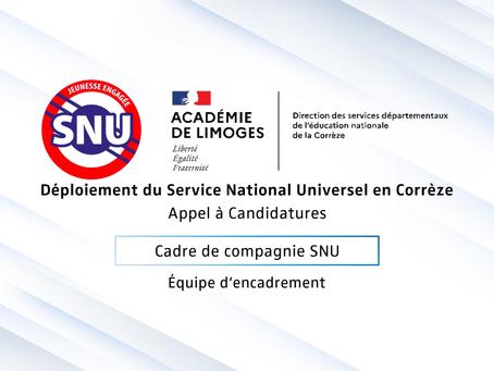 Déploiement SNU - APPEL A CANDIDATURES CADRE DE COMPAGNIE