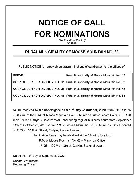 5) FORM H - Notice of Call for Nominatio