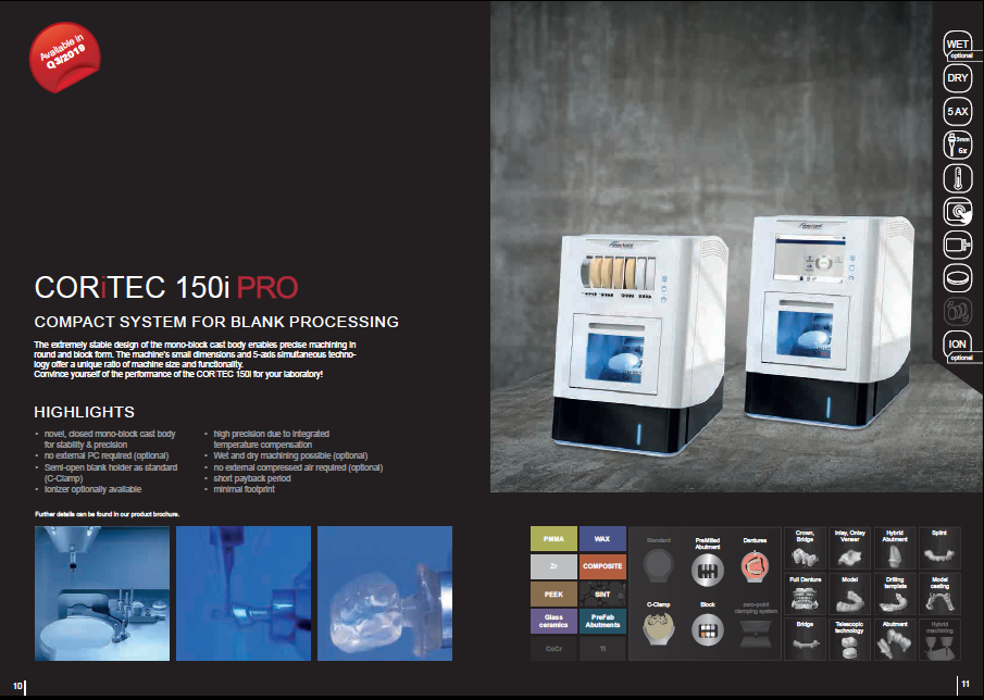 coritec 150i dental compact mlling machine for bank processing