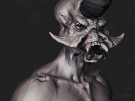 Creature bust sculpt