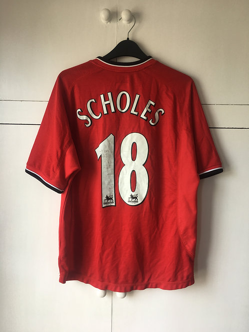 2000-02 Manchester United Home Shirt Scholes #18 (Very Good) Y