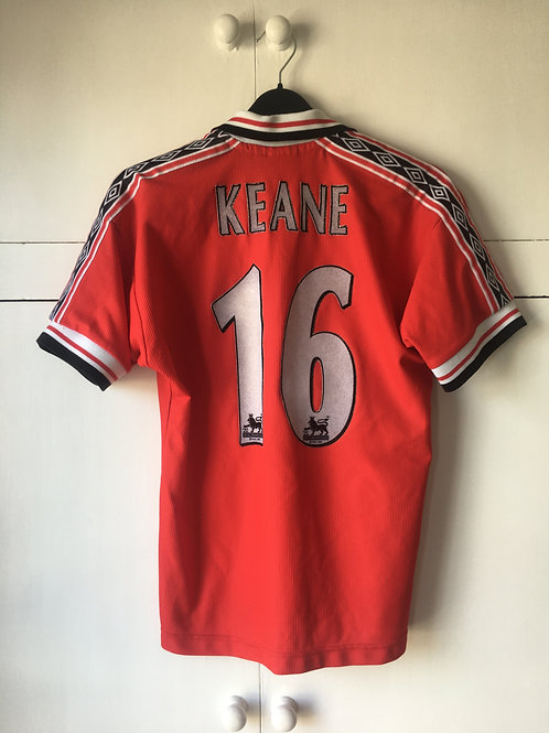 1998-00 Manchester United Home Shirt Keane #16 (Excellent) L.Boys