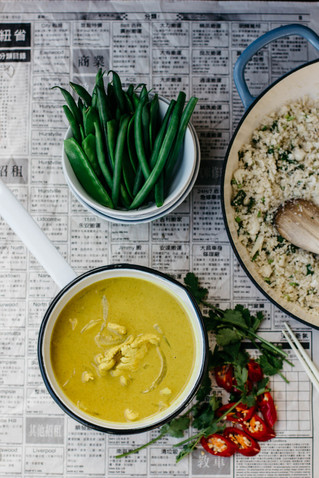 Chicken Turmeric Coconut Curry and Cauliflower Rice