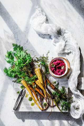 Roast vegetables + beet hummus