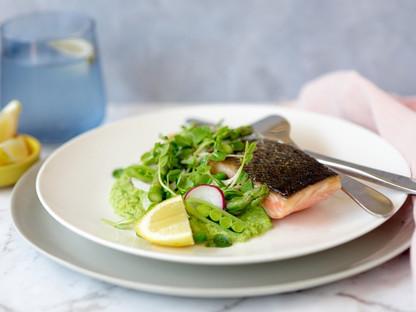 Seared Salmon with Pea Puree & Pea Shoot Salad