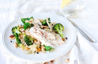 Roasted Broccoli and Spiced Chicken Salad with Tahini Dressing