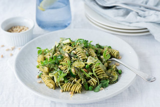 Pea Shoot Pesto Pasta with Spring Vegetables