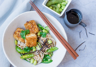 Spicy Vegan Soba Noodles with Sesame Tofu