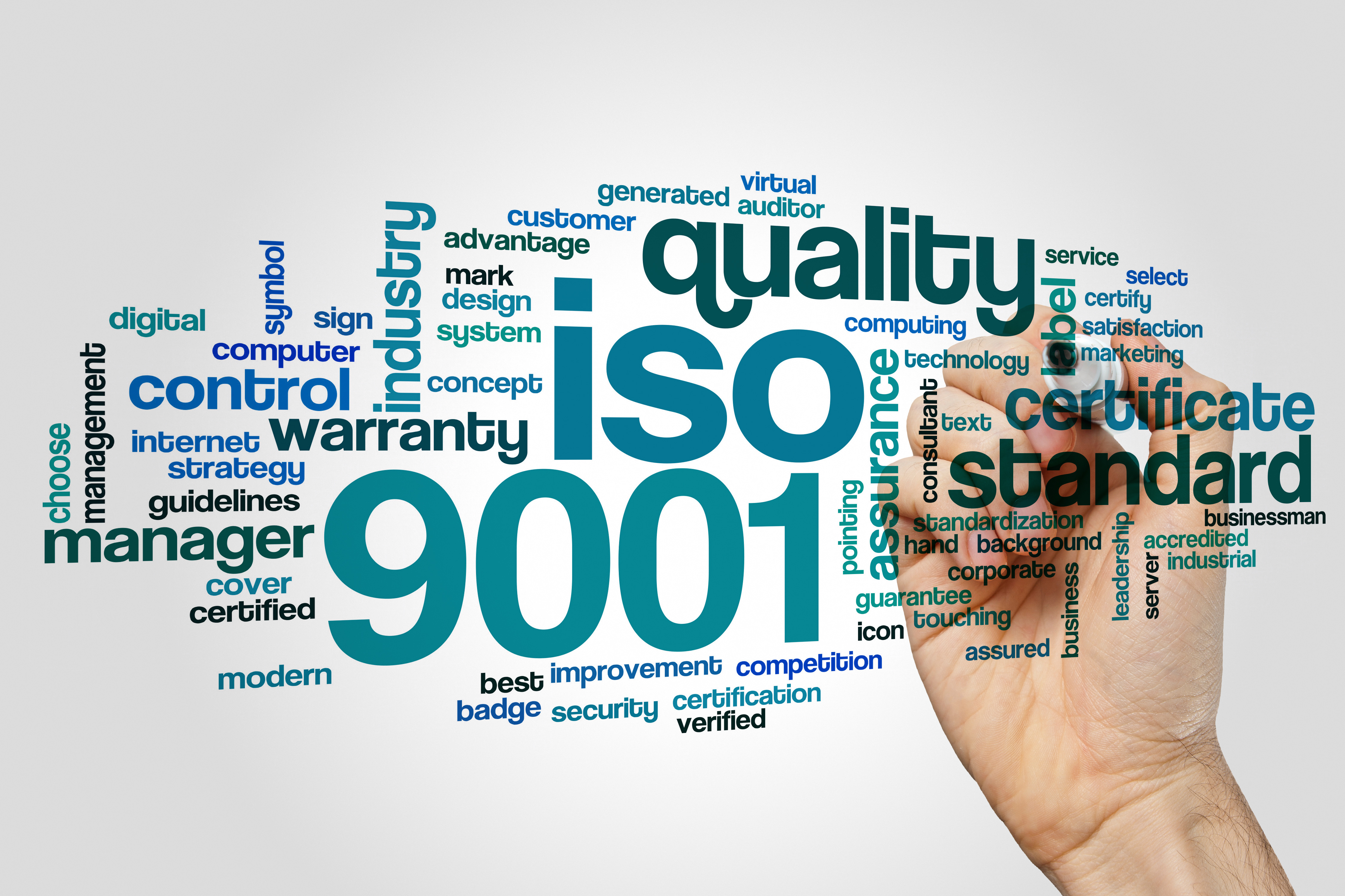 ISO 9001 word cloud concept on grey back