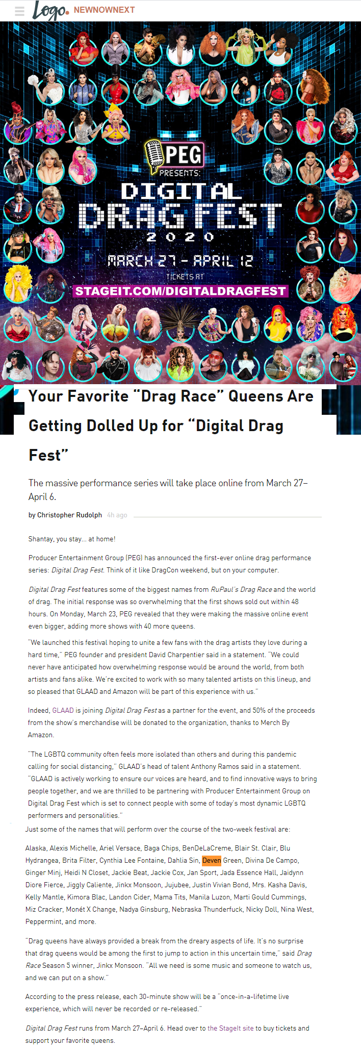digital drag fest march 2020 deven peg e