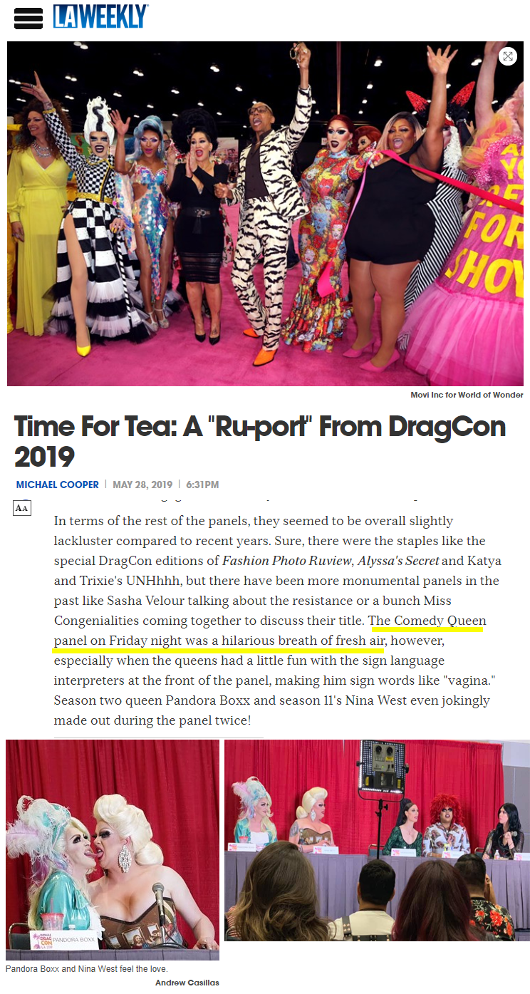 LA Weekly dragcon 2019 panel comedy ment