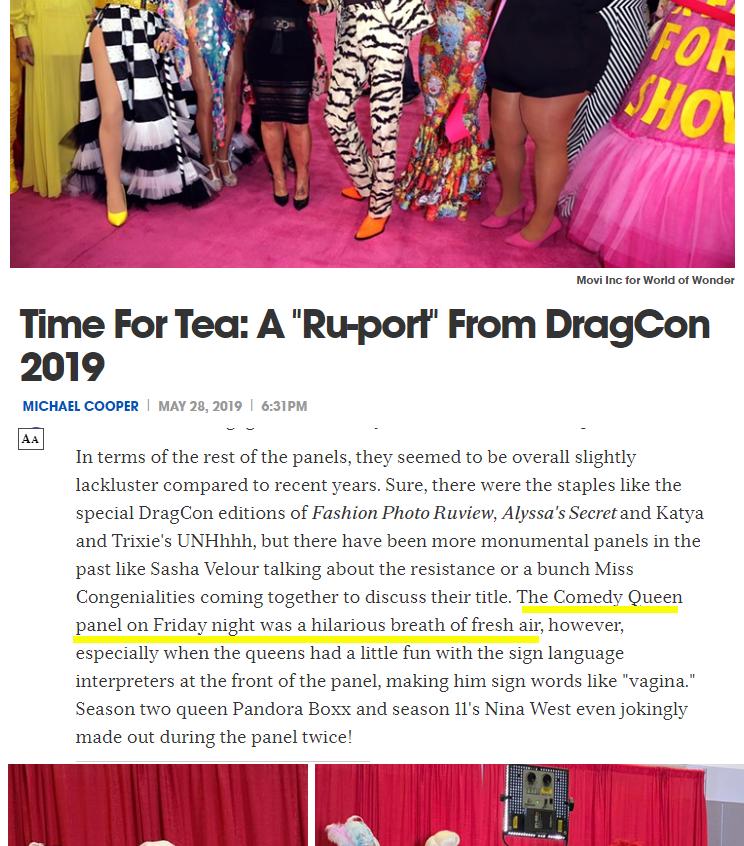 LA Weekly dragcon 2019 panel comedy ment